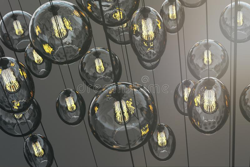 Carta da parati decorativa creativa delle lampade illustrazione di stock
