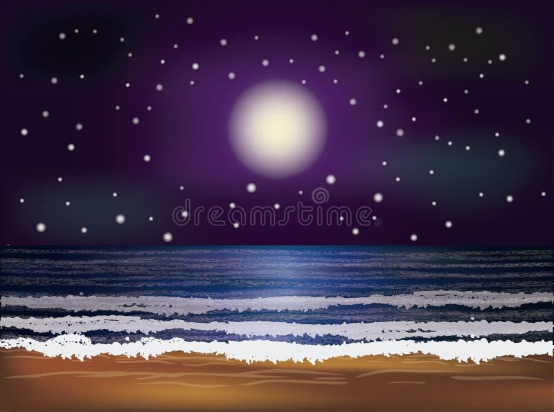 Carta da parati del mare di notte, vettore royalty illustrazione gratis