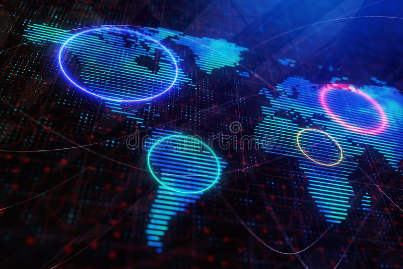 Carta da parati della mappa di Digital illustrazione di stock