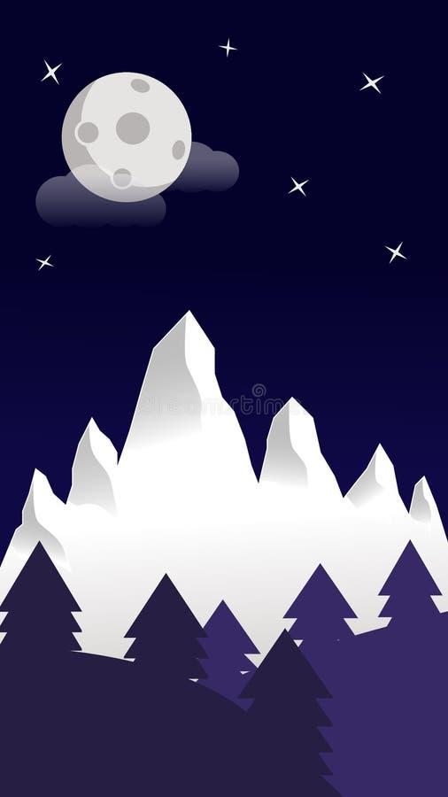 Carta da parati della montagna della neve del cielo notturno immagini stock