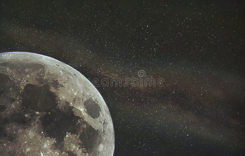 Carta da parati della Via Lattea dell'annuncio della luna illustrazione vettoriale