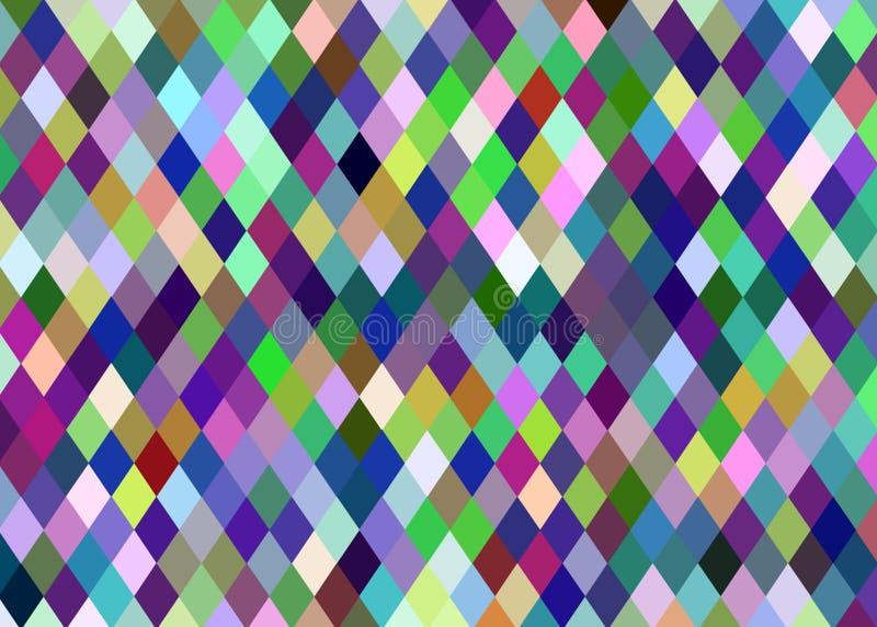Carta da parati di cristallo gialla verde blu dei pixel del lillà Bckground a quadretti astratto del mosaico illustrazione vettoriale