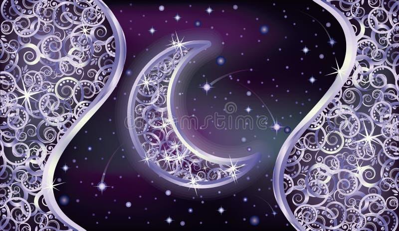Carta da parati di feste con la luna d'argento illustrazione vettoriale
