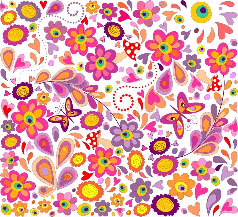 Carta da parati di hippy con le farfalle divertenti, i fiori variopinti ed i funghi illustrazione vettoriale