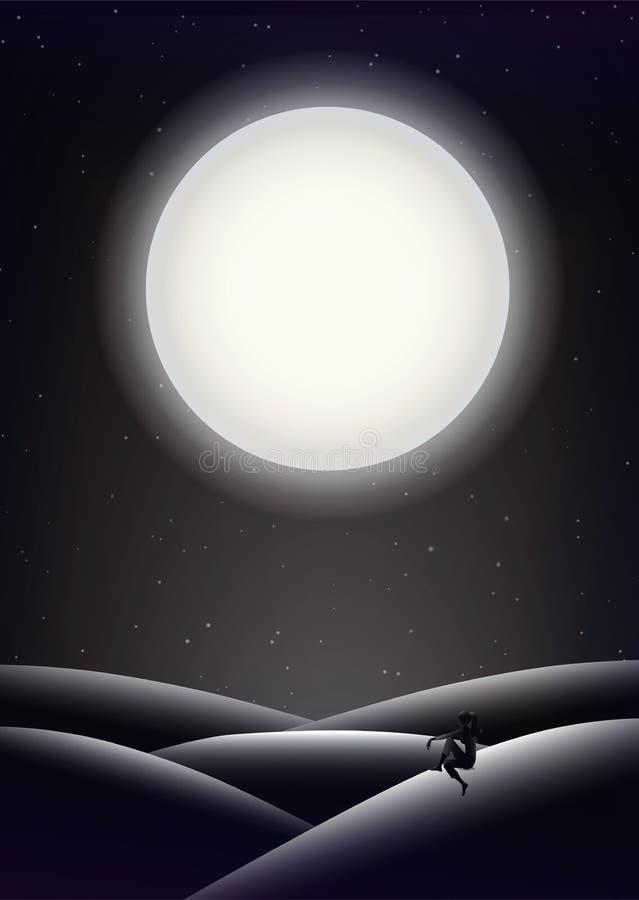 Carta da parati di mezzanotte della luna piena illustrazione vettoriale