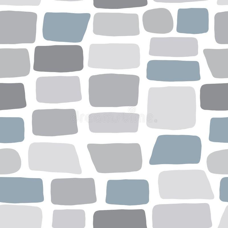 Carta da parati di pietra disegnata a mano Struttura di un muro di mattoni Modello senza cuciture dei ciottoli illustrazione vettoriale