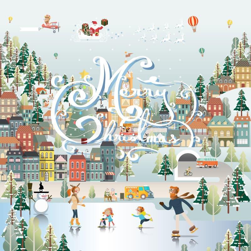 Carta da parati di scena di giorno del paesaggio del villaggio della neve royalty illustrazione gratis