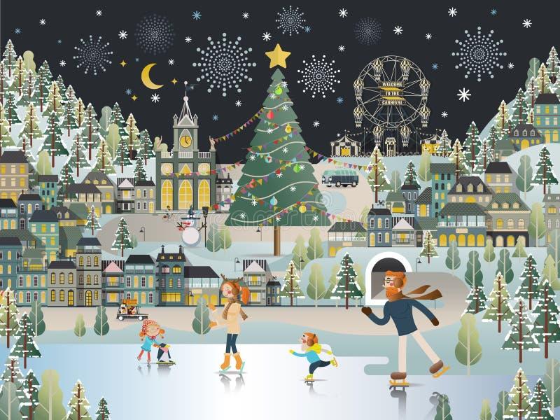 Carta da parati di scena di notte di Natale del paesaggio del villaggio della neve illustrazione vettoriale