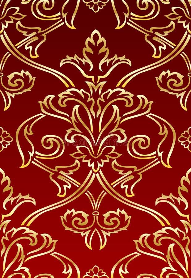Carta da parati di stile del damasco dell'oro illustrazione vettoriale