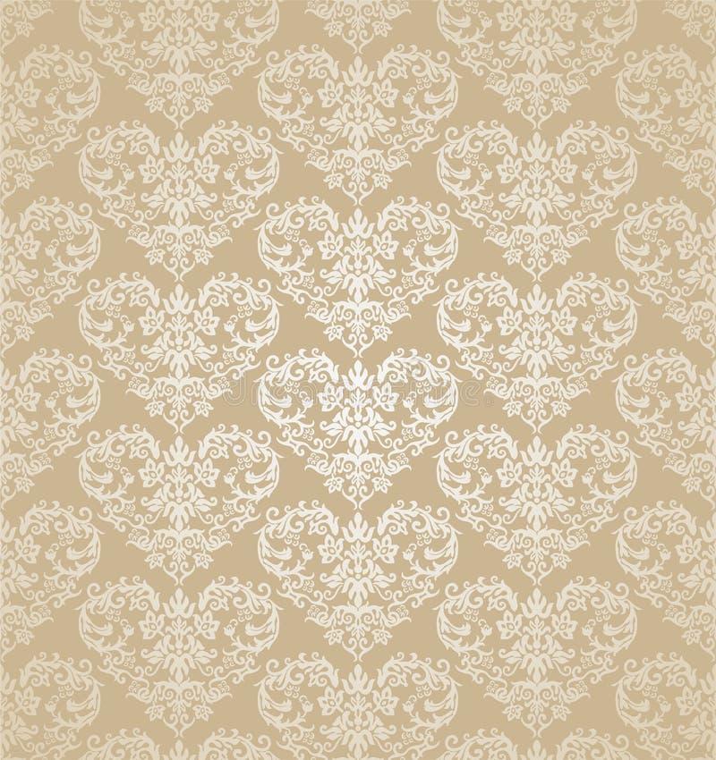 Carta da parati dorata del damasco dei cuori floreali senza cuciture illustrazione vettoriale