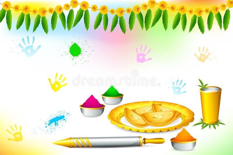 Carta da parati felice di Holi illustrazione di stock