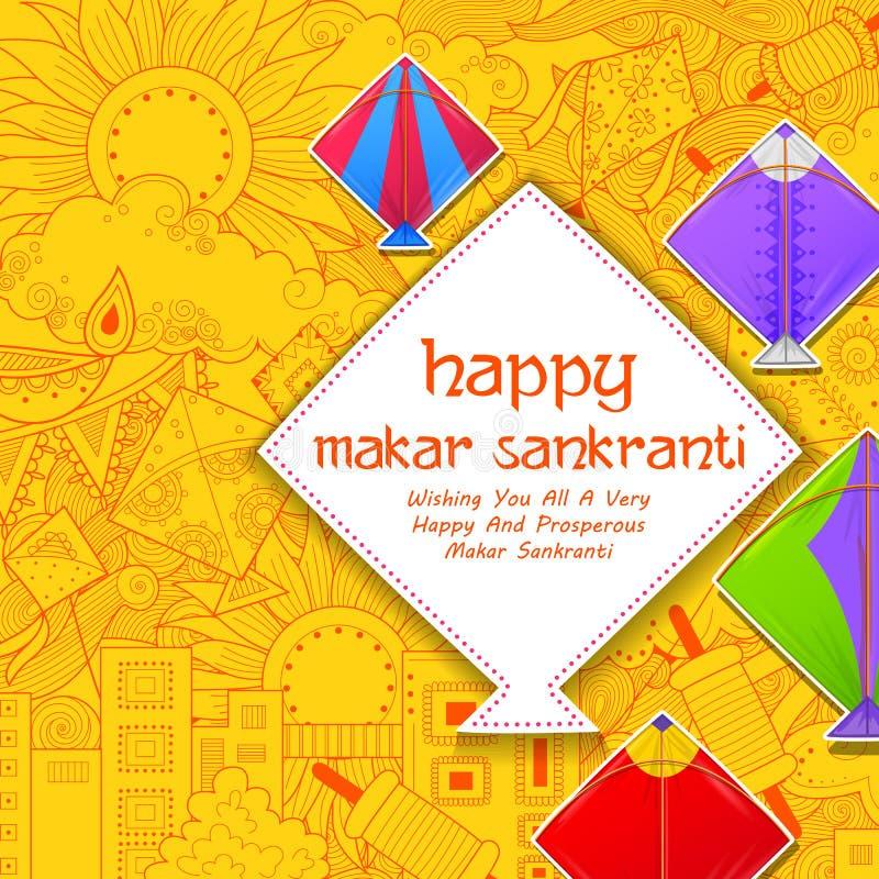 Carta da parati felice di Makar Sankranti con la corda variopinta dell'aquilone illustrazione di stock