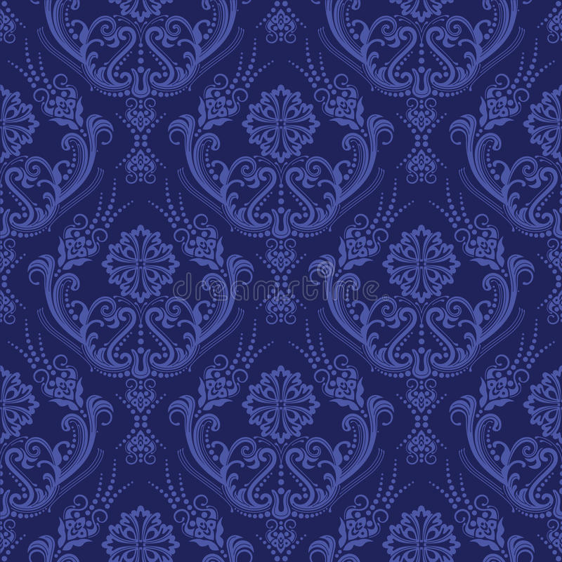 Carta da parati floreale blu di lusso del damasco illustrazione vettoriale