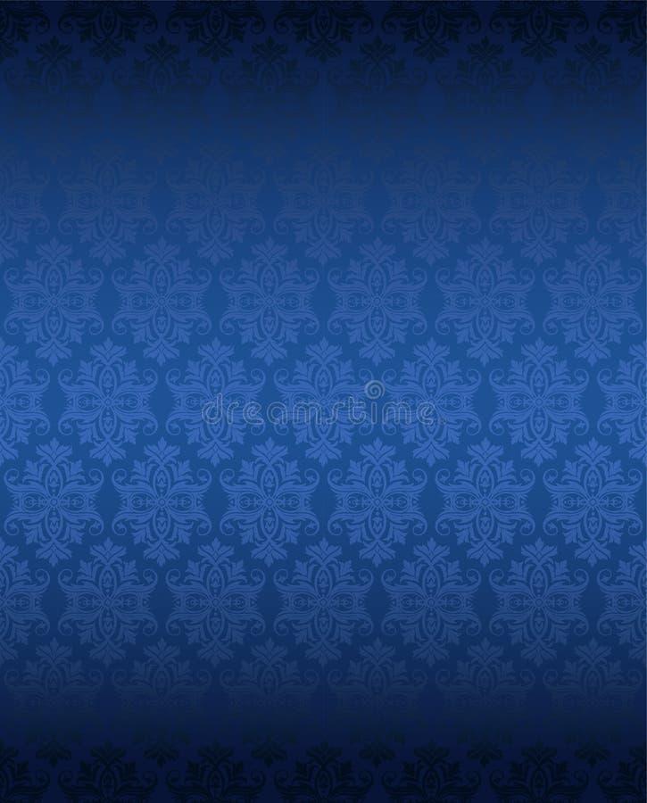 Carta da parati floreale blu senza cuciture di lusso illustrazione di stock