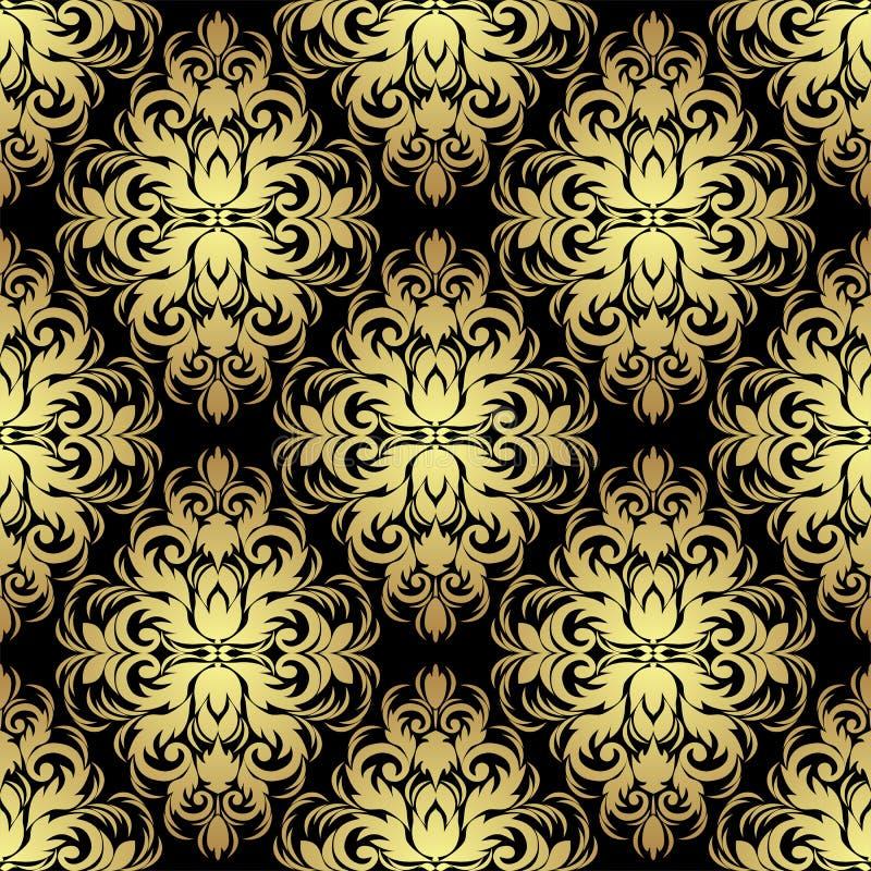 Carta da parati floreale decorata senza cuciture: oro sul nero royalty illustrazione gratis