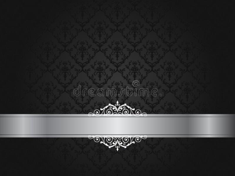 Carta da parati floreale nera di lusso con il rotolo illustrazione vettoriale