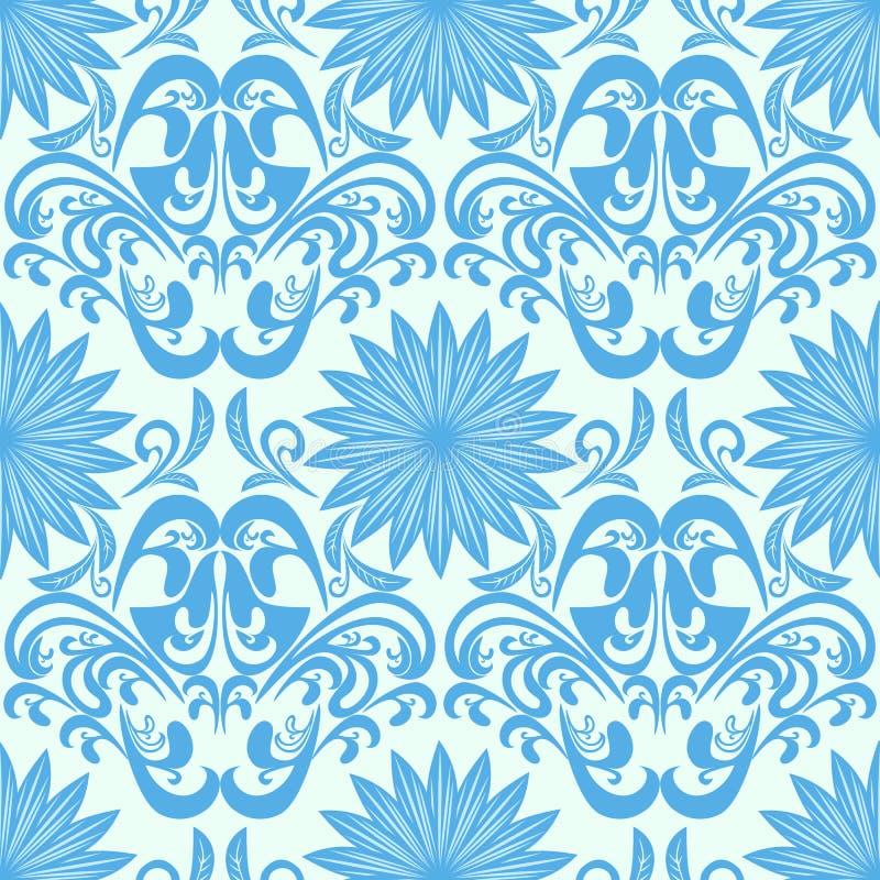 Carta da parati floreale senza cuciture blu del damasco illustrazione di stock