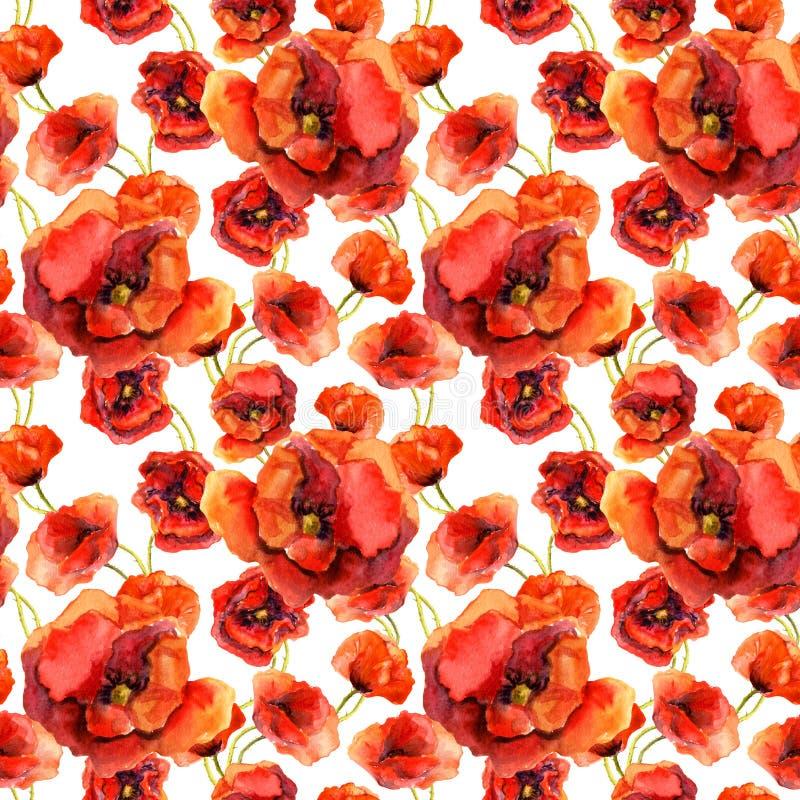 Carta da parati floreale senza cuciture con i papaveri variopinti Pittura dell'acquerello illustrazione vettoriale
