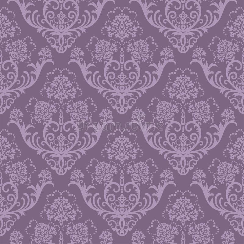 Carta da parati floreale viola senza giunte illustrazione vettoriale