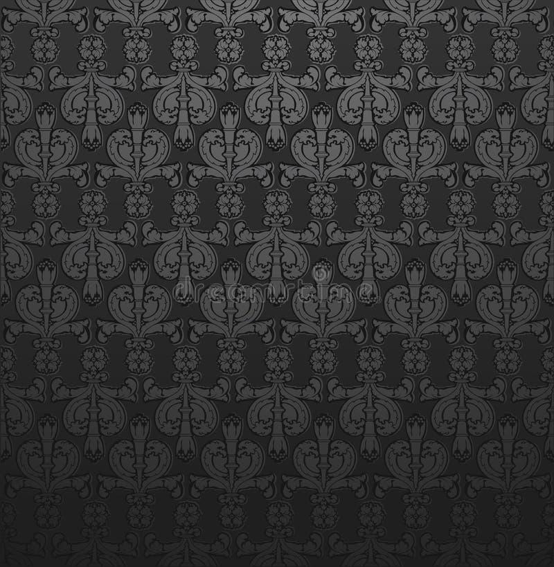 Carta da parati grigio scuro del damasco illustrazione for Carta parati grigia