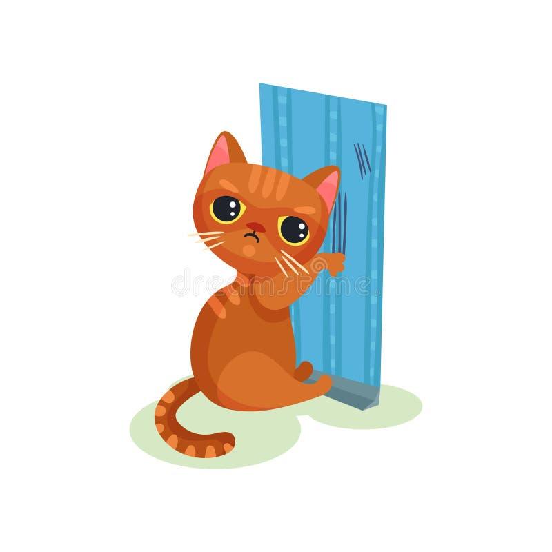 Carta da parati impertinente di scratch del gattino, piccola illustrazione sveglia maligna di vettore del gatto su un fondo bianc royalty illustrazione gratis