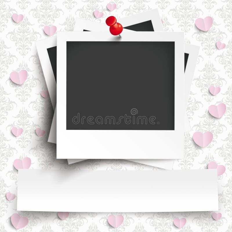 Carta da parati istantanea a batch degli ornamenti dei cuori dell'insegna delle foto illustrazione di stock