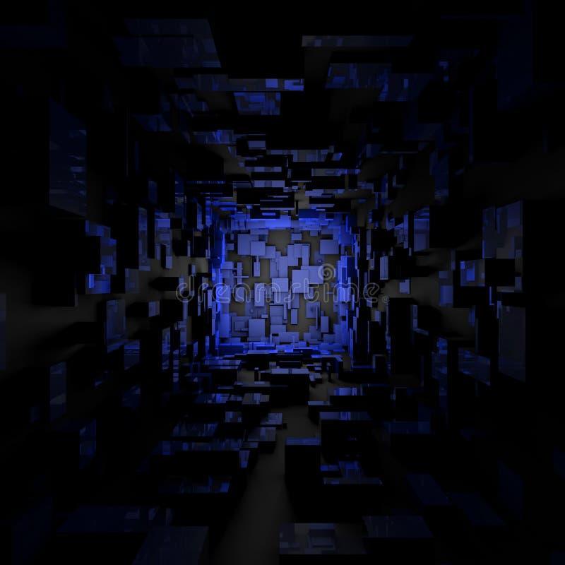 Carta da parati leggera blu scuro futuristica astratta del fondo della stanza di Sci Fi illustrazione di stock