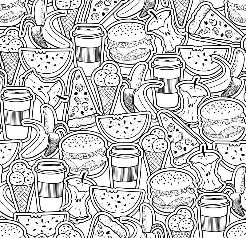 Carta da parati monocromatica con alimento e le bevande royalty illustrazione gratis