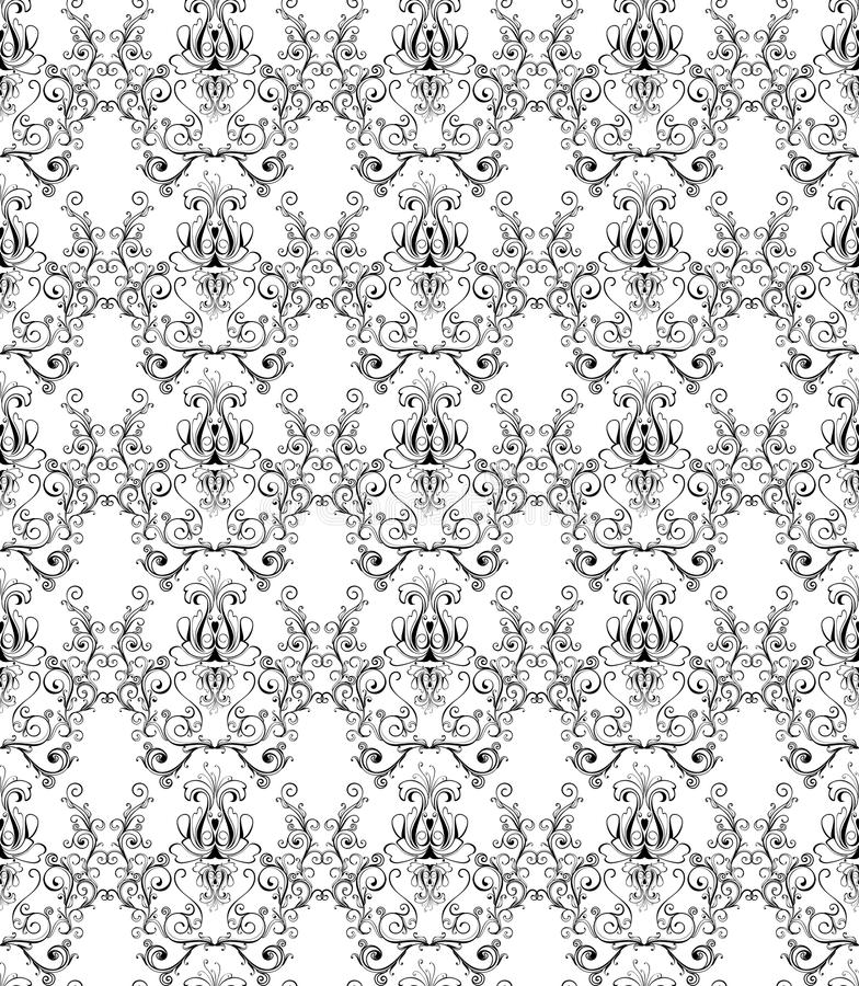 Carta da parati monocromatica del damasco royalty illustrazione gratis