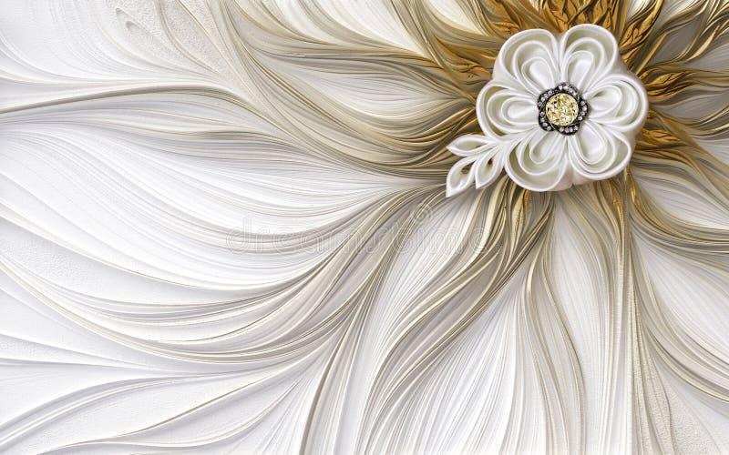 carta da parati murala 3d dorata e marrone con il fondo fantastico del fiore del fiore della decorazione di frattale di cristallo royalty illustrazione gratis