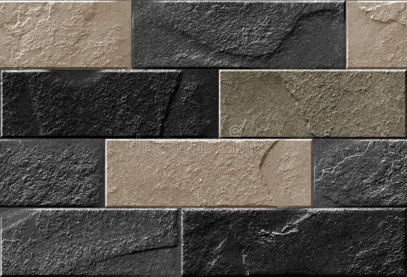 Carta da parati naturale e struttura del mattone usate per le mattonelle della parete, la carta da parati di stampa digitale e la illustrazione vettoriale