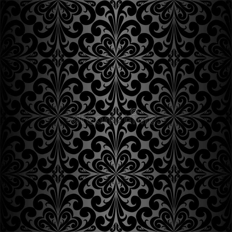 carta da parati nera ornamentale senza cuciture illustrazione