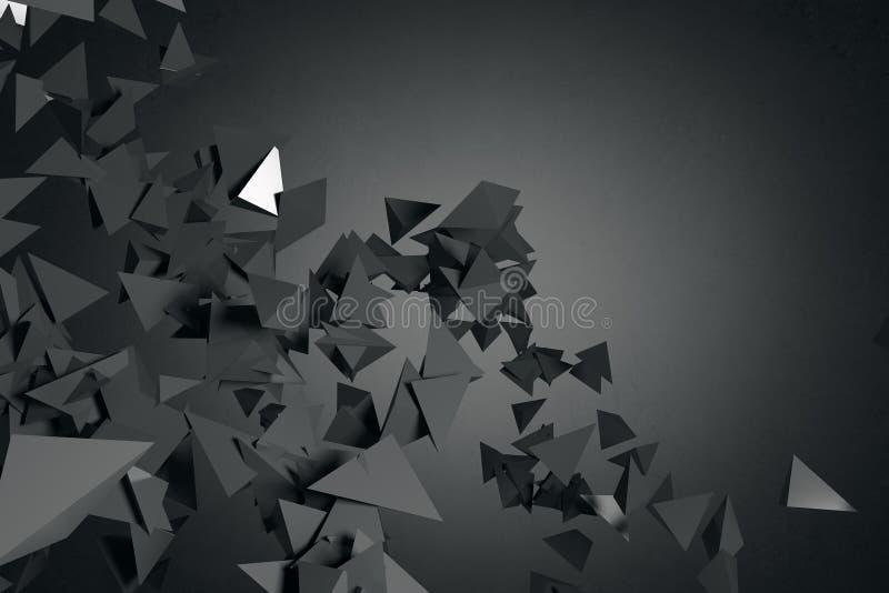 Carta da parati poligonale nera astratta illustrazione vettoriale