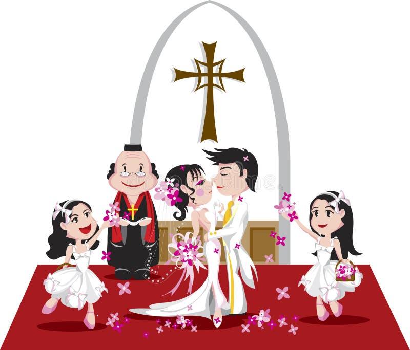 Carta da parati romantica di cerimonia nuziale illustrazione di stock