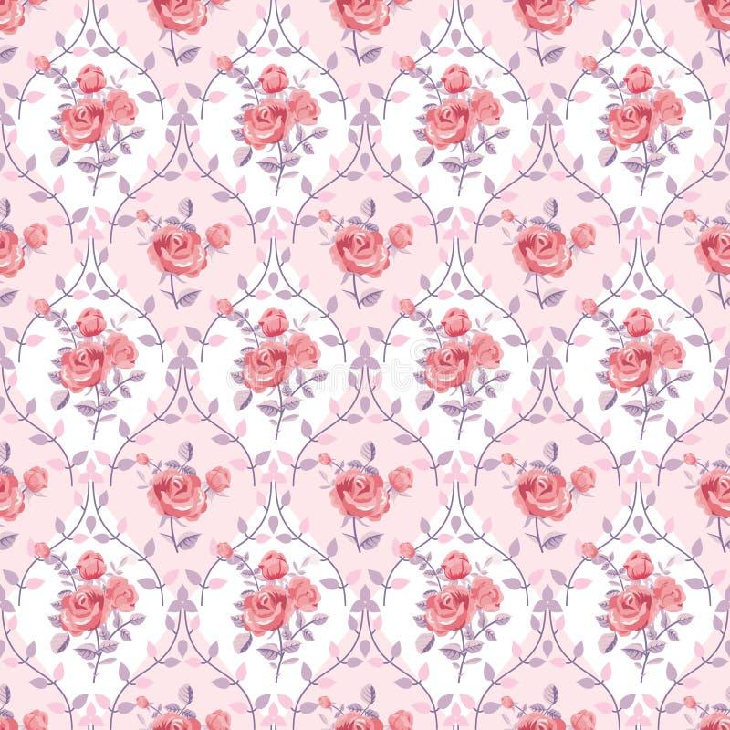 Carta da parati rosa con le rose di fioritura royalty illustrazione gratis