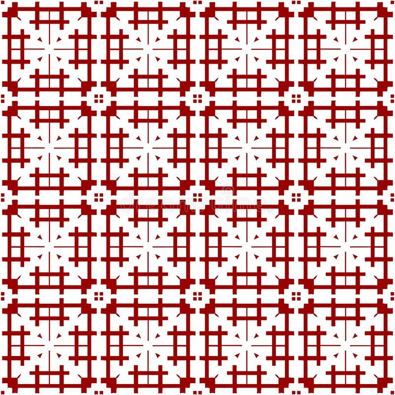 Carta da parati rossa trasparente cinese araba d'annata reale senza cuciture floreale astratta ornamentale orientale di struttura illustrazione di stock