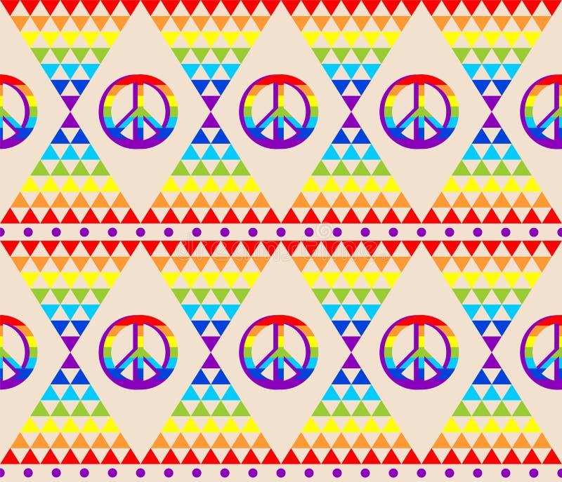 Carta da parati senza cuciture astratta d'annata con il modello variopinto del triangolo psichedelico ed il simbolo di pace di hi illustrazione vettoriale