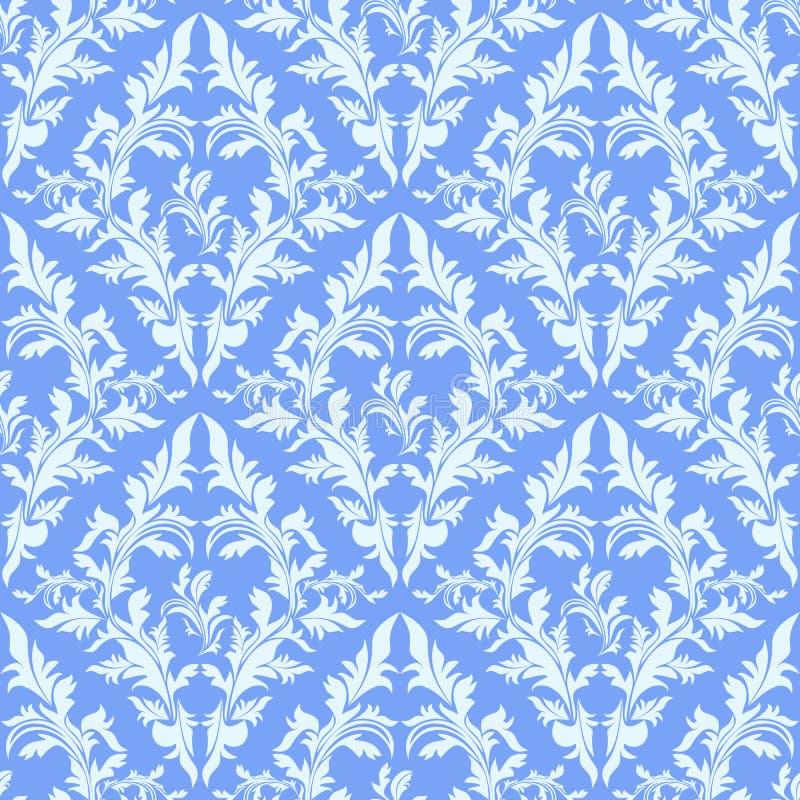 Carta da parati senza cuciture blu-chiaro del damasco. illustrazione vettoriale