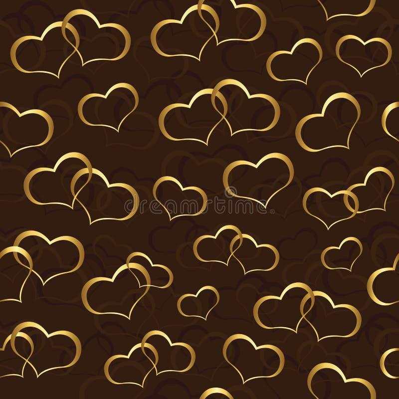 Carta da parati senza cuciture con i cuori dell 39 oro for Carta da parati damascata oro