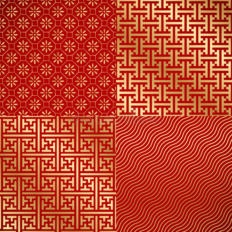 Carta da parati senza cuciture d'annata del damasco di cinese quattro illustrazione vettoriale