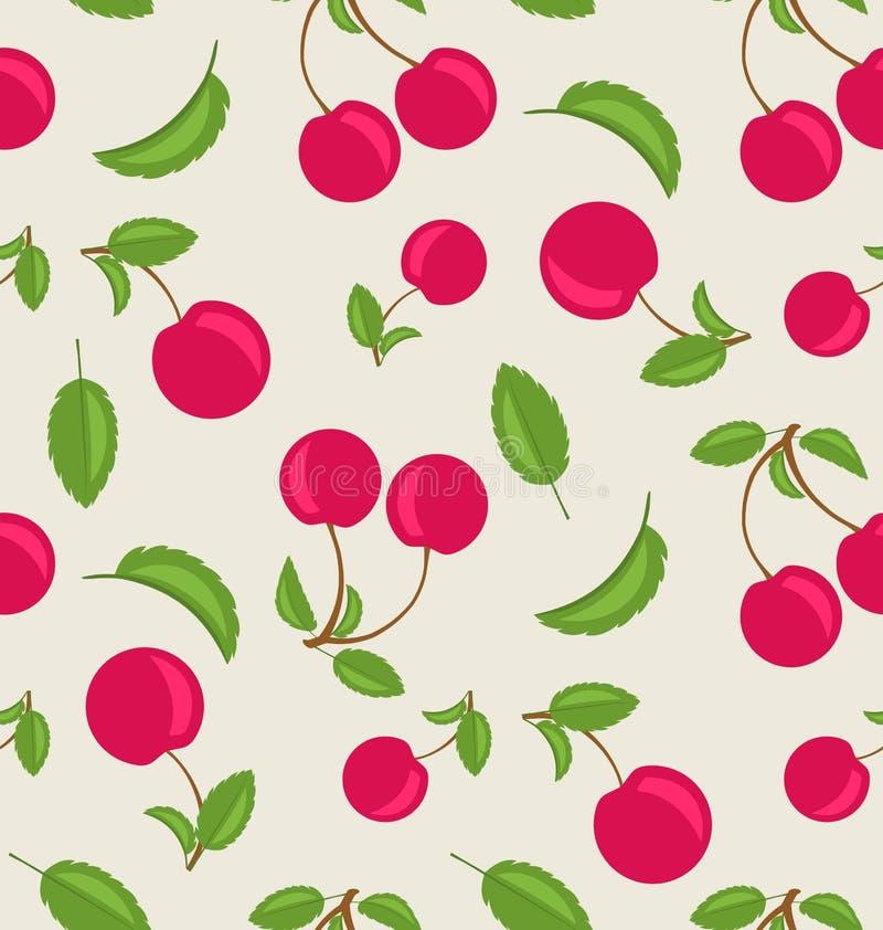 Carta da parati senza cuciture d'annata delle ciliege con le foglie verdi royalty illustrazione gratis