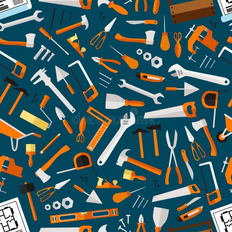 Carta da parati senza cuciture degli strumenti di riparazione e della costruzione illustrazione vettoriale