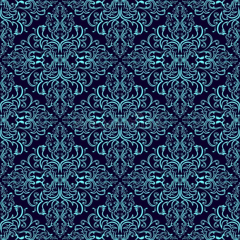 Carta da parati senza cuciture del damasco: blu su blu scuro illustrazione di stock
