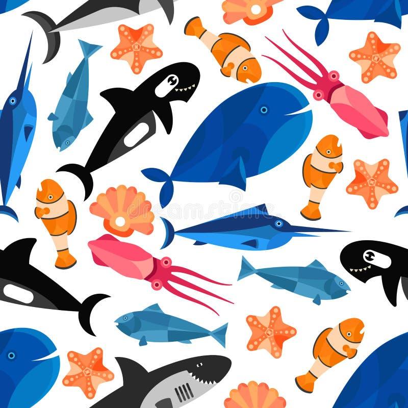 Carta da parati senza cuciture del modello del fumetto del pesce illustrazione di stock
