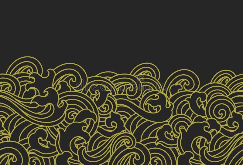 Carta da parati senza cuciture dell'onda di acqua dell'oro - stili orientali - vettore illustrazione vettoriale