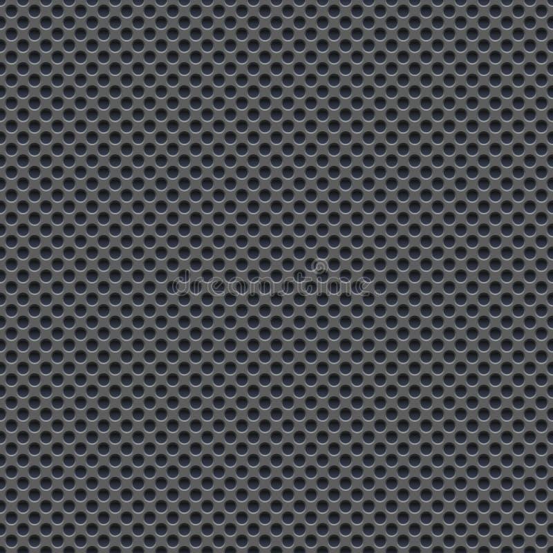 Carta da parati senza cuciture di vettore di di piastra metallica grigio perforato illustrazione vettoriale