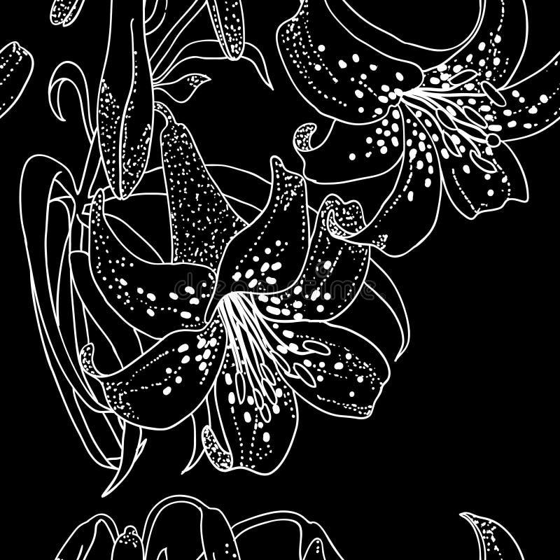Carta da parati senza giunte con i fiori del giglio royalty illustrazione gratis