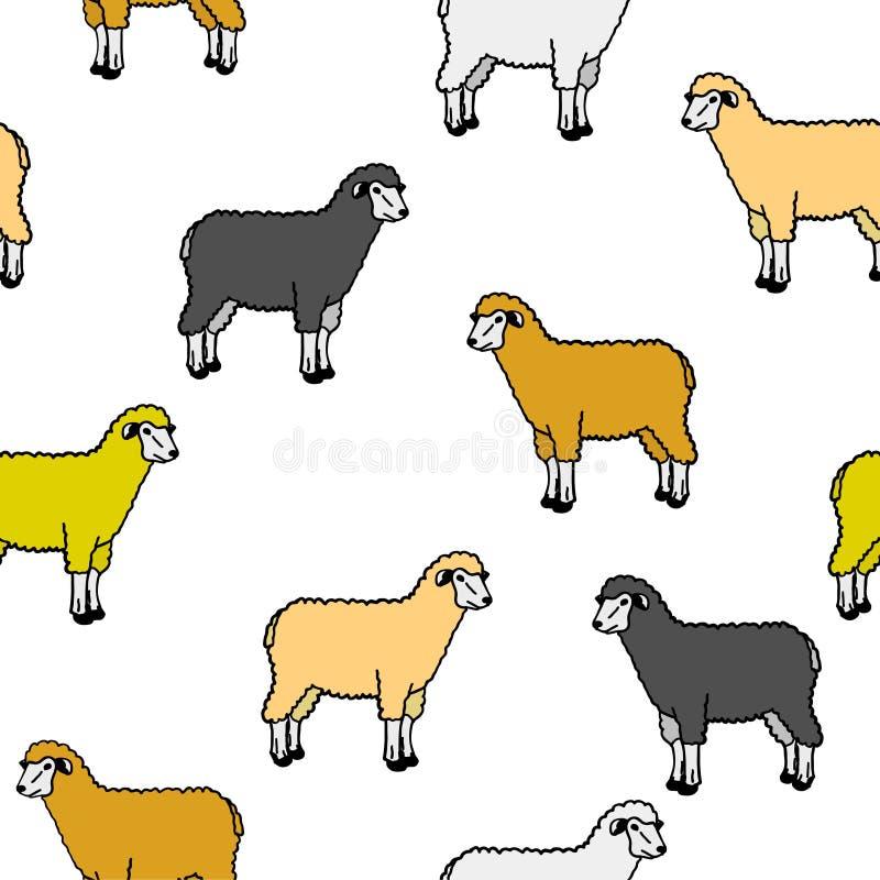 Carta da parati senza giunte con le pecore e le ram royalty illustrazione gratis