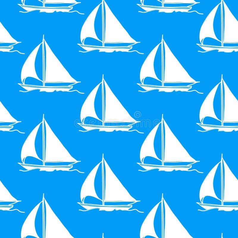 Carta da parati senza giunte con una barca a vela illustrazione vettoriale