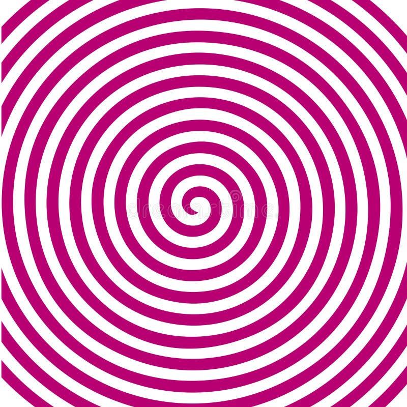 Carta da parati a spirale ipnotica di vortice astratto rotondo rosa bianco illustrazione di stock